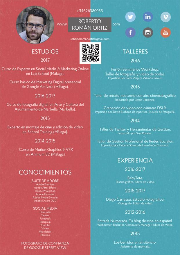 Curriculum Vitae de Roberto Román Ortiz de 2017.