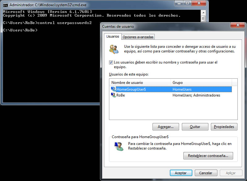 Cómo cambiar la contraseña de Administrador en Windows 7