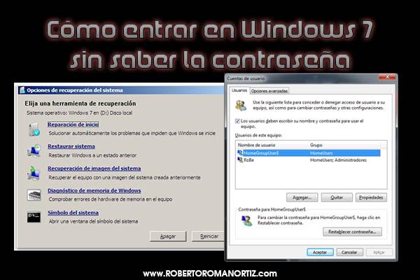 Cómo entrar en Windows 7 sin saber la contraseña