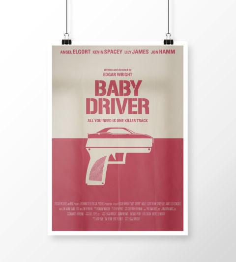 """Mockup cartel minimalista de """"Baby Driver"""""""