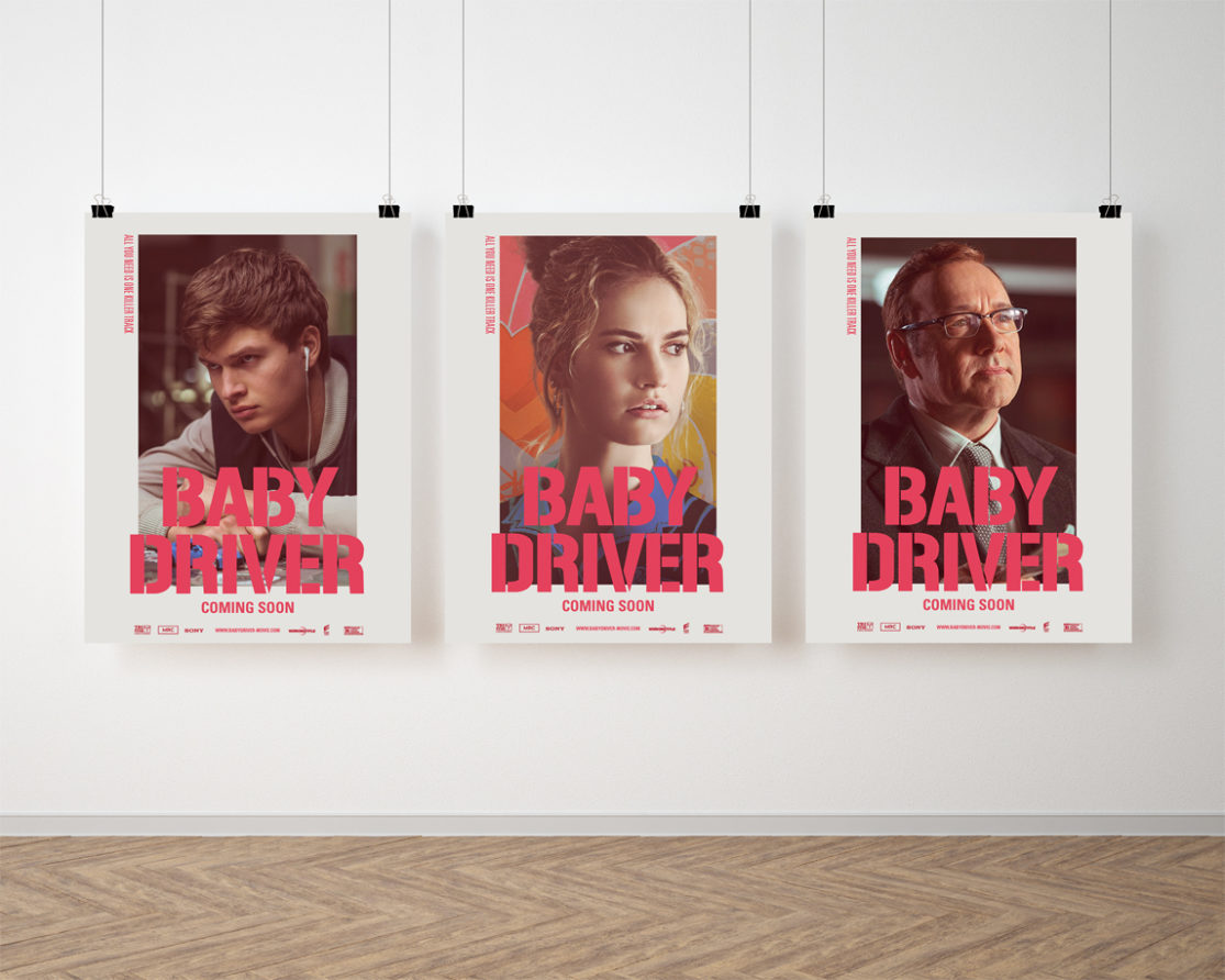 "Mockup cartel personajes de ""Baby Driver""."