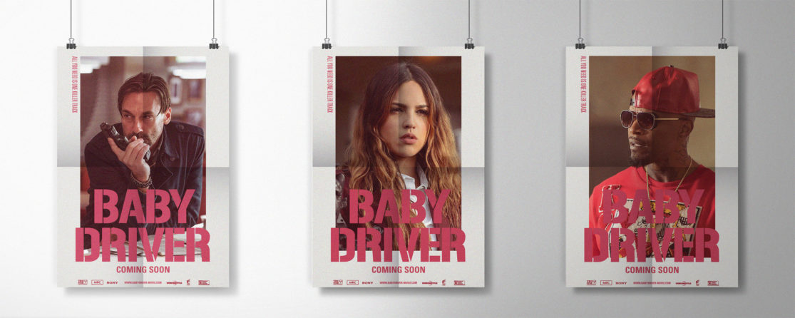 "Mockup carteles personajes de ""Baby Driver""."