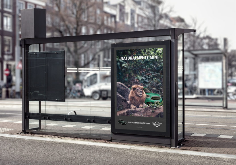 Mockup de publicidad de Mini.
